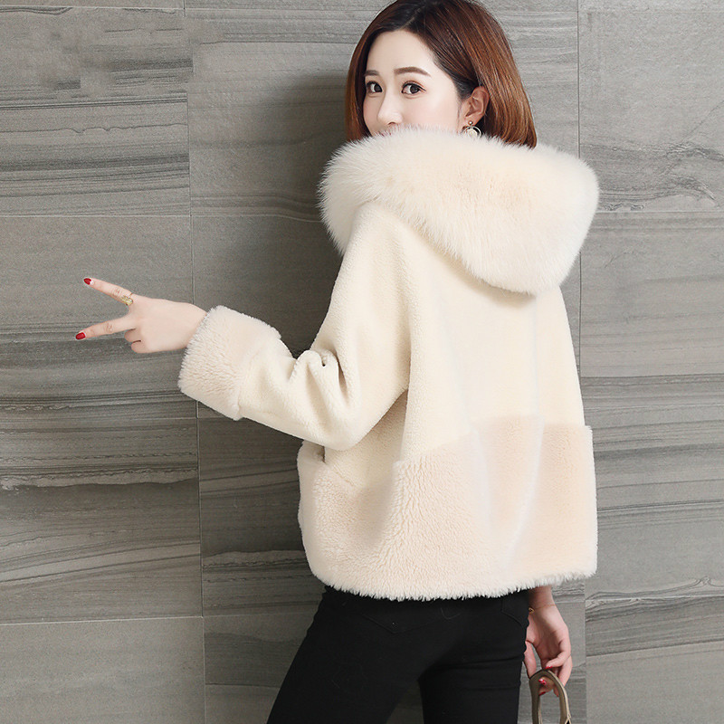 Coréenne Vintage 2018 Vêtements Court Zt1284 camel Fourrure Femme Femmes De Manteau Réel White Renard Automne Hiver Laine Veste r4HqAr