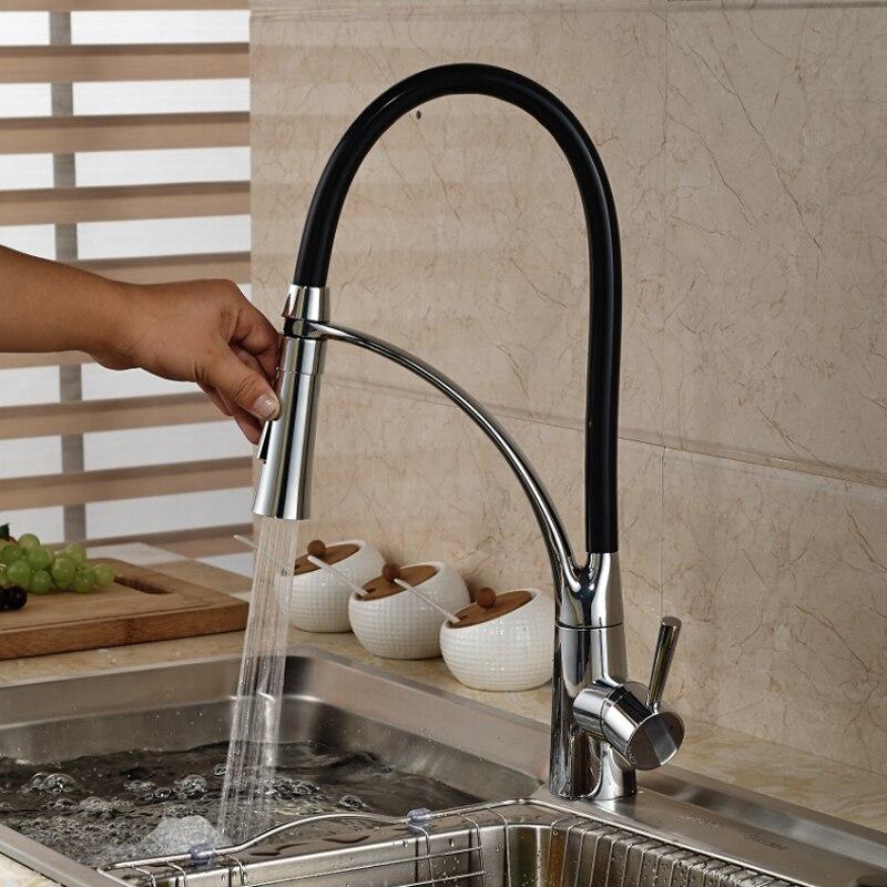Aliexpress.com : Buy Single Handle Kitchen Faucet Black Chrome ...