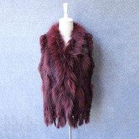 real fur waistcoat genuine knitted rabbit fur vest with raccoon fur collar tassels femme sleeveless coat jacket spring autumn