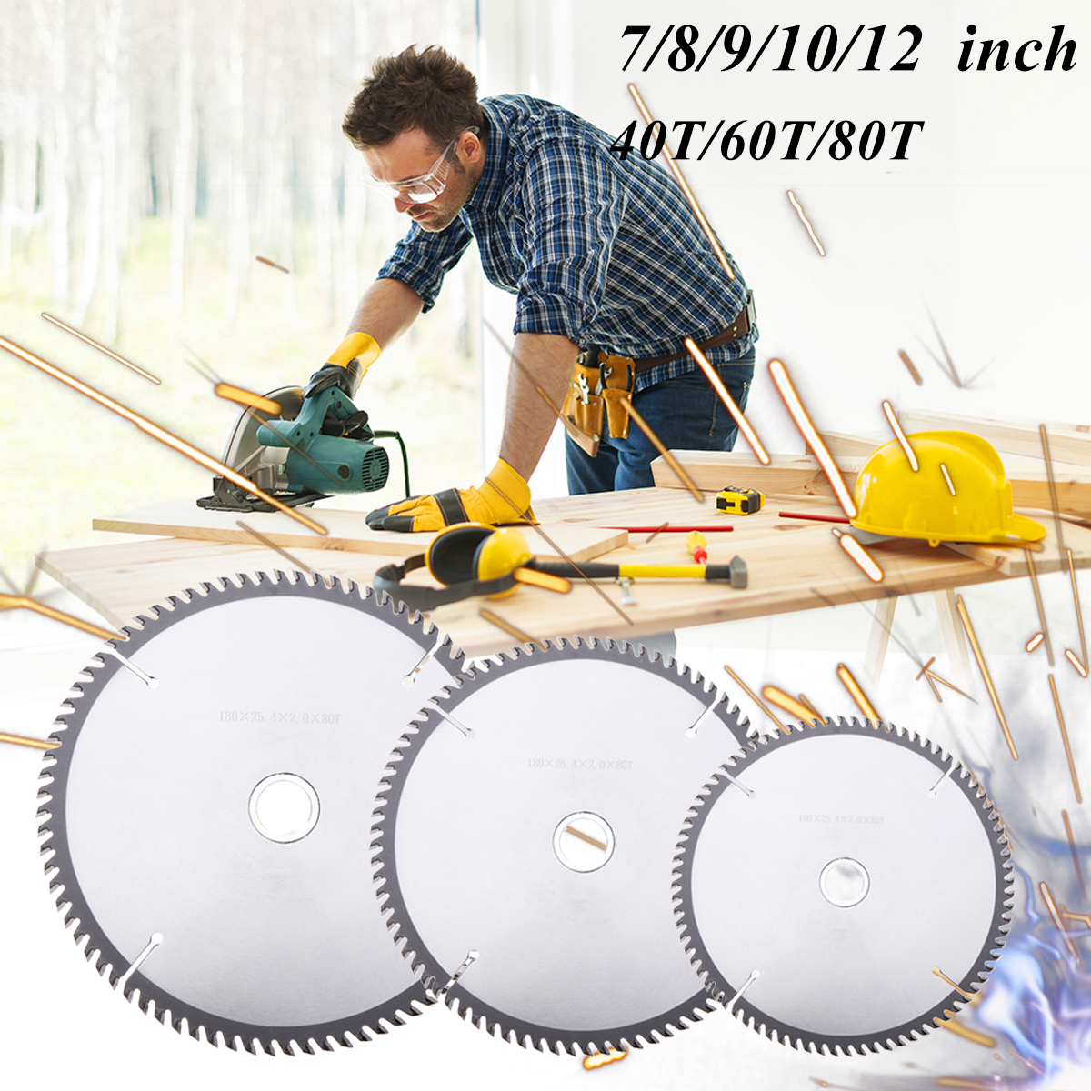 7/8/9/10/12 Inch 40T/60T/80T Alloy Circular Saw Blades Wood Cutting Craving Tool DIY Woodworking Cutter Saw Blades Disc