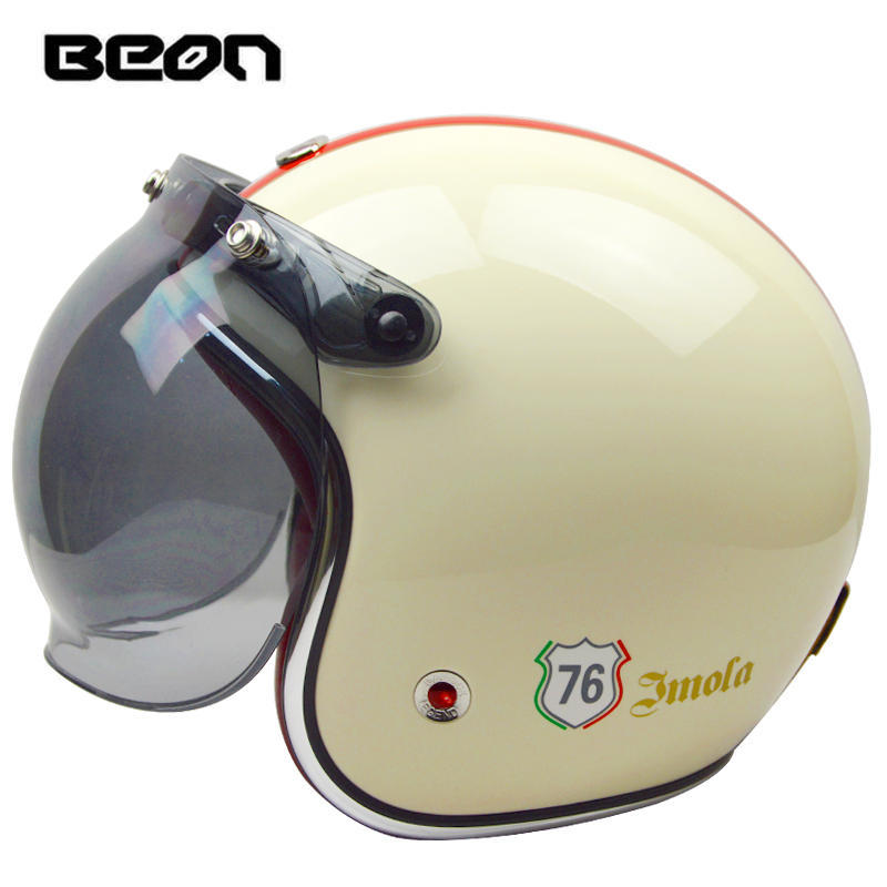 Beon open face half 3/4 glass fiber motorcycle helmet vintage retro chopper motorbike helmets with visor summer spring suitable