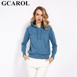 Женский вязаный свитер GCAROL, яркий пуловер с капюшоном из 30%-ной шерсти на осень и зиму