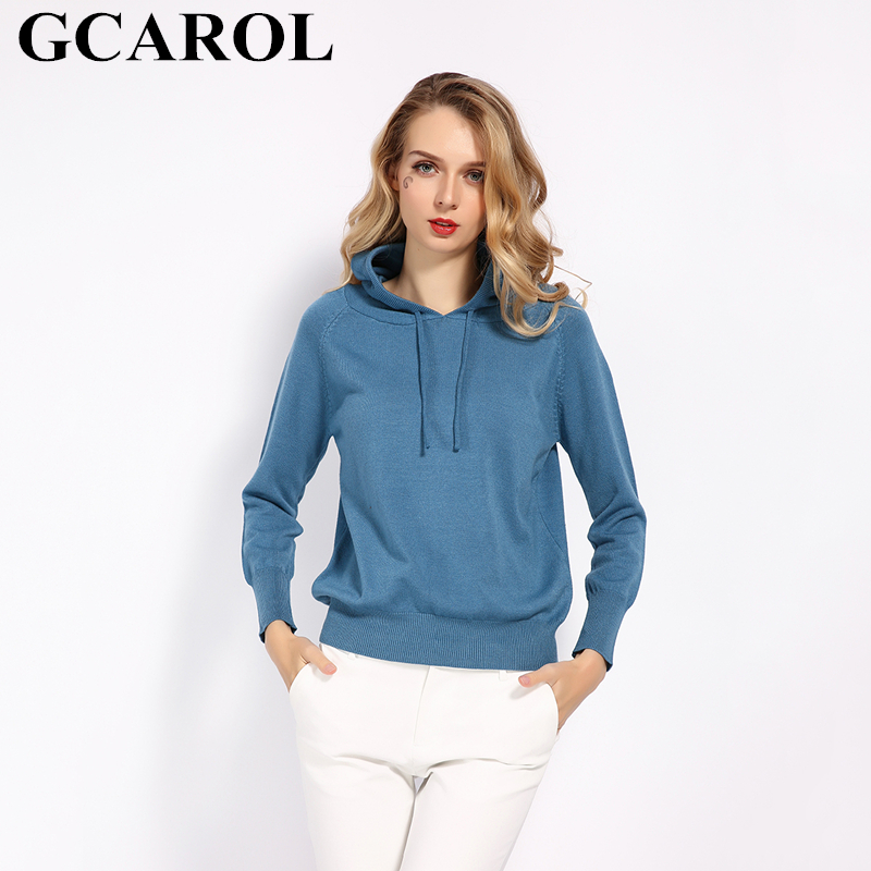 GCAROL Fall Winter Girls Knit Pullover 30% Wool Hooded Sweater High Street Candy Women Render Knit Jumper Knitwear