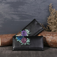 Women Wallets Retro First Layer Of Leather New Ladies Wallets Fashion Embossed Genuine Leather Long Female