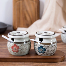 Creative Unglazed Porcelain Condiment Tank Kitchen with Spoon Bottle Japanese Salt Cover Box Condi