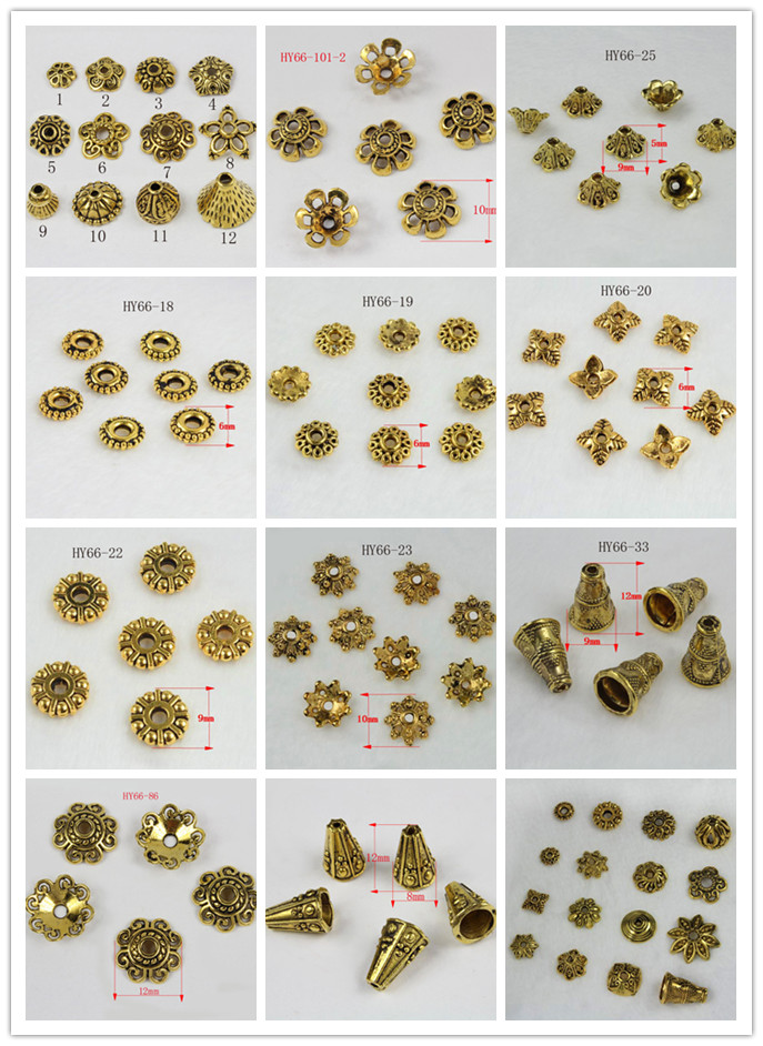 free shipping multifarious antiquated Gold Tone Flower Bead Caps for diy jewelry finding beads 66-21 / 66-33