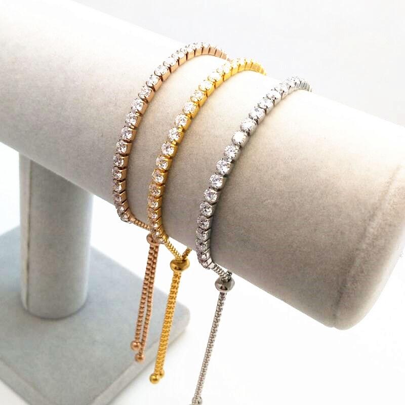 European Round Cut Cubic Zircon Bracelet Wedding Romantic Plated Full AAA Cubic Zirconia Bride Bangle Adjustable Bracelet
