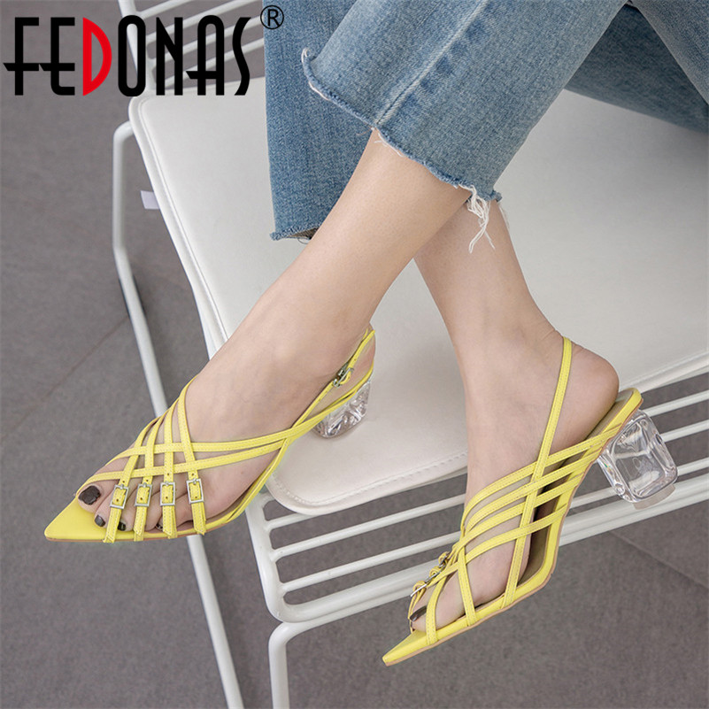 FEDONAS Buckle Strap Summer Sandals Women New Sexy High Heels Quality Microfider Pumps Prom Shoes Woman Crystal Heel Sandals