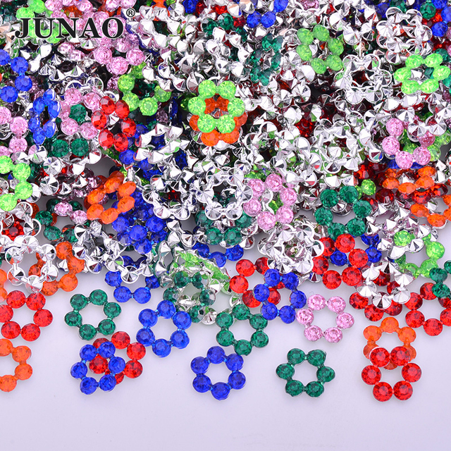 JUNAO 200pcs 12mm Sewing Mix Color Round Rhinestones Pointback Acrylic  Crystal Stones Strass Scrapbook Beads for Clothes Jewel 0c4d14a6dd4d