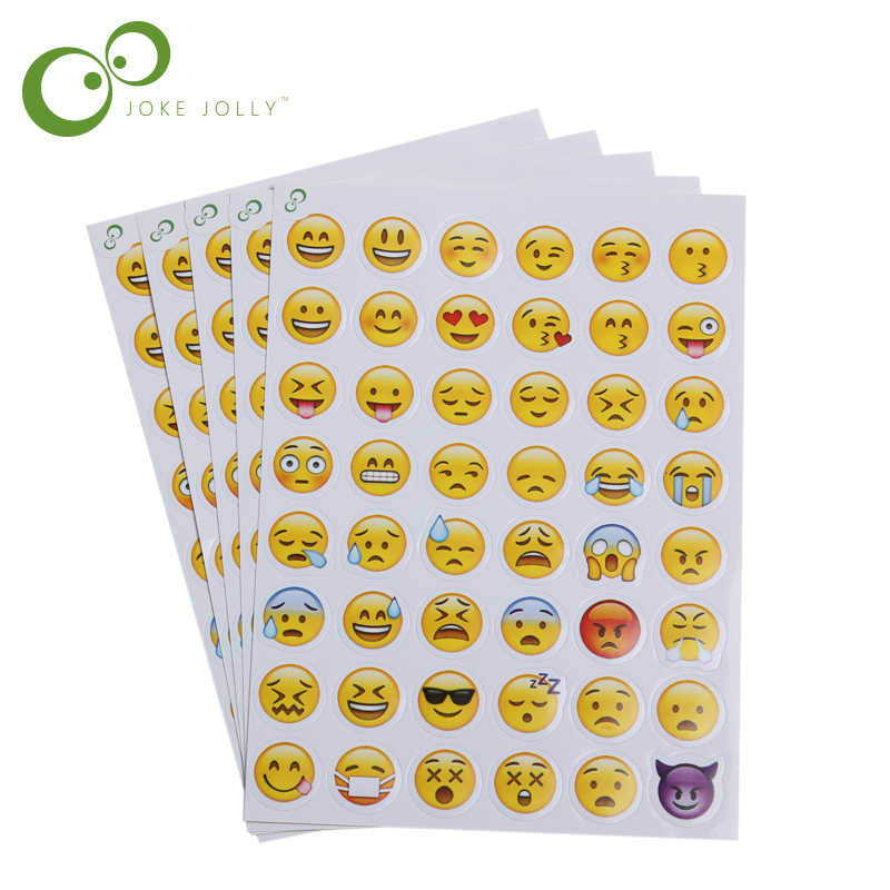 5 Pcs 48 Smiley Face Emoji Stickers Sheet Adhesive Smile
