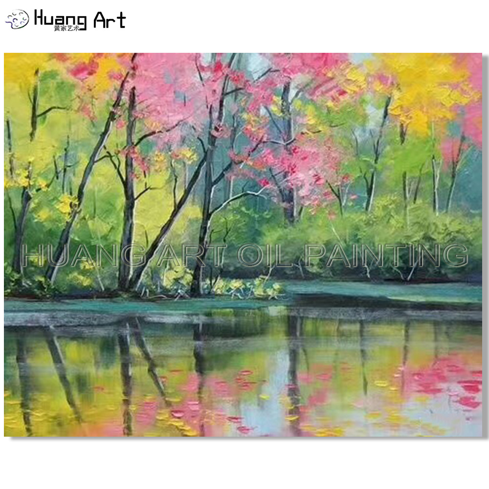 Excellent Artist Hand painted High Quality Rich Colors Modern Lake Oil Painting on Canvas Vivid Spring Landscape Lake Painting