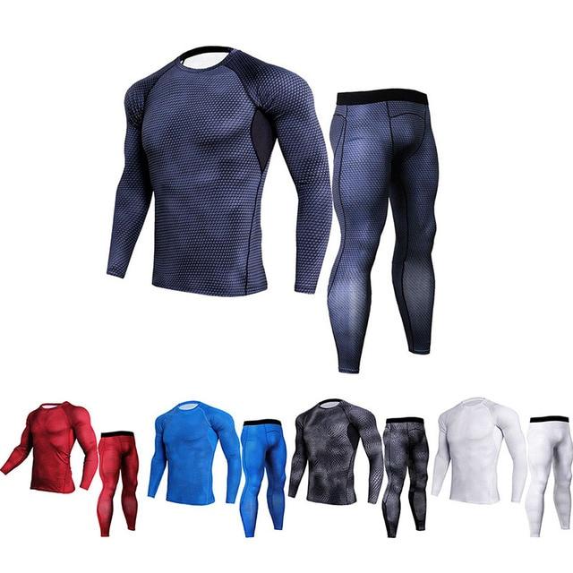 Los hombres de secado rápido ropa deportiva de compresión correr Trajes  apretado conjunto deportes camiseta Pantalones a096765efbb6