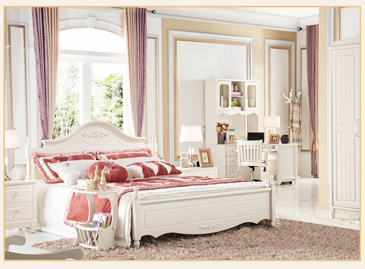 New Luxury Modern Bedroom Pearl White Bedding Room Furniture Solid