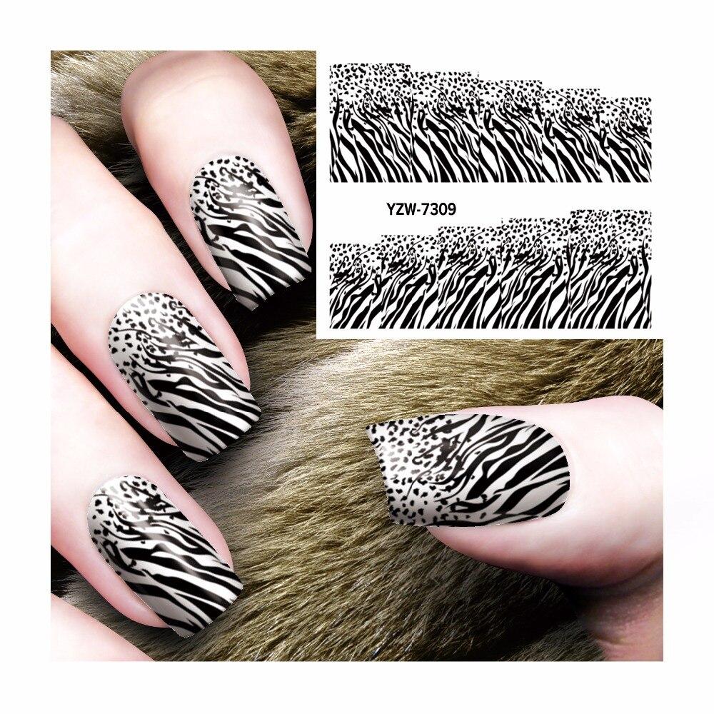Diy Snow Leopard Nail Art: YWK 1 Sheet Chic Black Leopard Pattern DIY Water Transfer