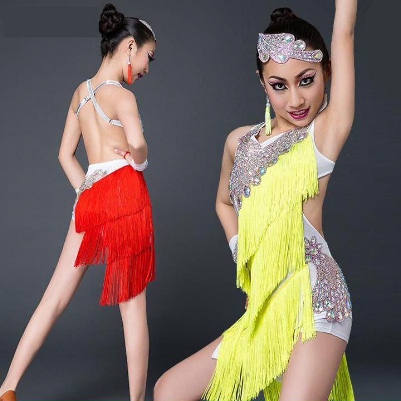 Sexy Latin Dance Dress For Girls Kids Children New Fringe Competition Latin Skirt Salsa Samba Dance