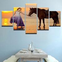 Modern Painting Unframed Art Poster Wall Picture 5 Panel Beautiful Girl Home Decor Horse Printed On