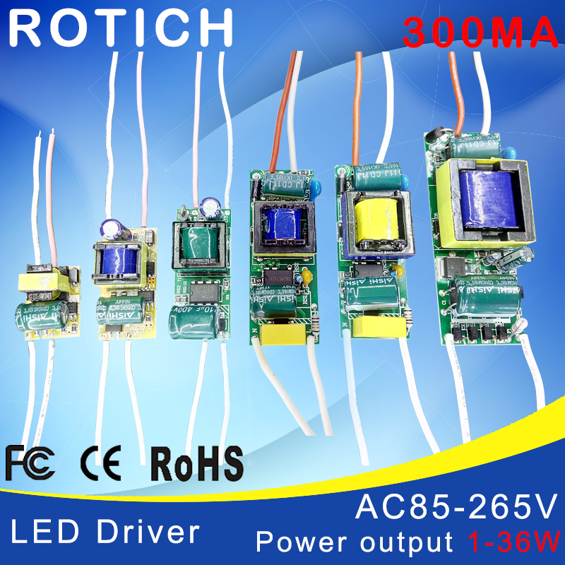 1-3W,4-7W,8-12W,15-18W,20-24W,25-36W LED driver power supply built-in constant current Lighting 85-265V Output 300mA Transformer as12 300 25 4 20