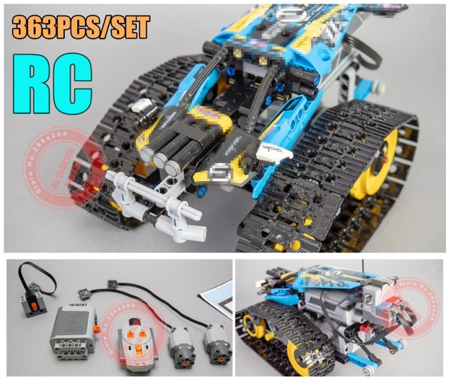 Función de potencia del motor RC TRACKED RACER CAR Electric fit legoings technic car 42065 speed car ladrillos de Building Block Modelo kid regalo
