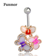 Gold Enamel Esmalte Crystal Body Feminino Umbigo Body Jewelry Navel Piercing Butterfly Belly Ring Medical Steel Umbilical Ring(China)