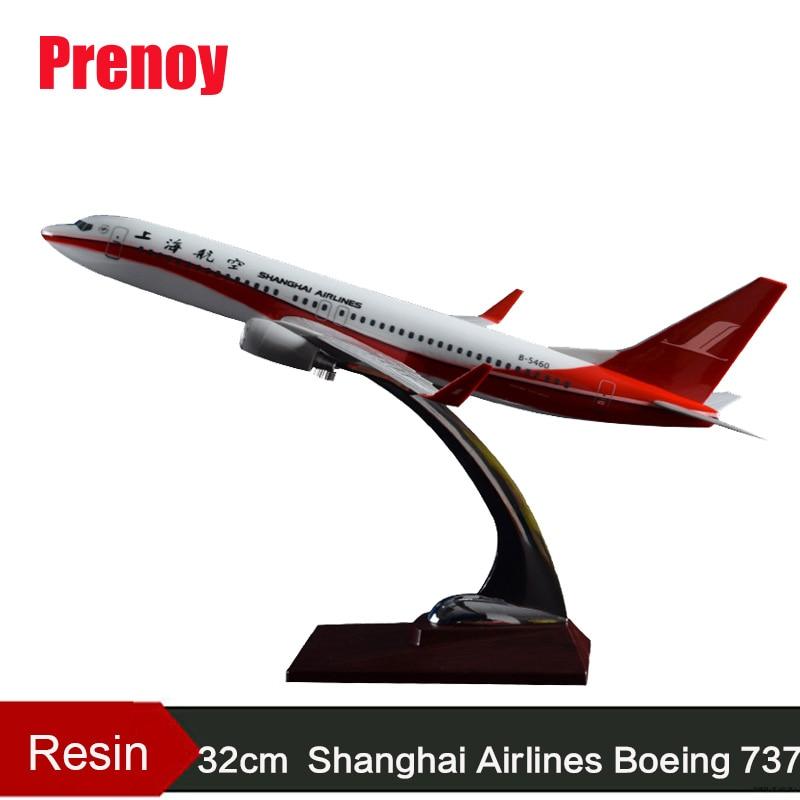 32cm Resin Aircraft Model Boeing 737 Shanghai Airlines Plane Model Aviation China Shanghai B737 Airways Airbus Plane Model Craft phoenix 11160 russian aviation vp bas 1 400 b777 200er commercial jetliners plane model hobby