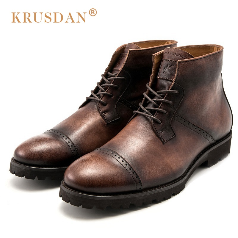 KRUSDAN Vintage Man Handmad Semi Brogue Shoes Genuine Leather High Top British Designer Men's Cowboy Outdoor Ankle Boots krusdan british style brand man handmad semi brogue shoes genuine leather round toe lace up men s cowboy martin ankle boots nk56
