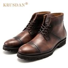 KRUSDAN Vintage Man Handmad Semi Brogue Shoes Genuine Leather High Top British Designer Men's Cowboy Outdoor Ankle Boots