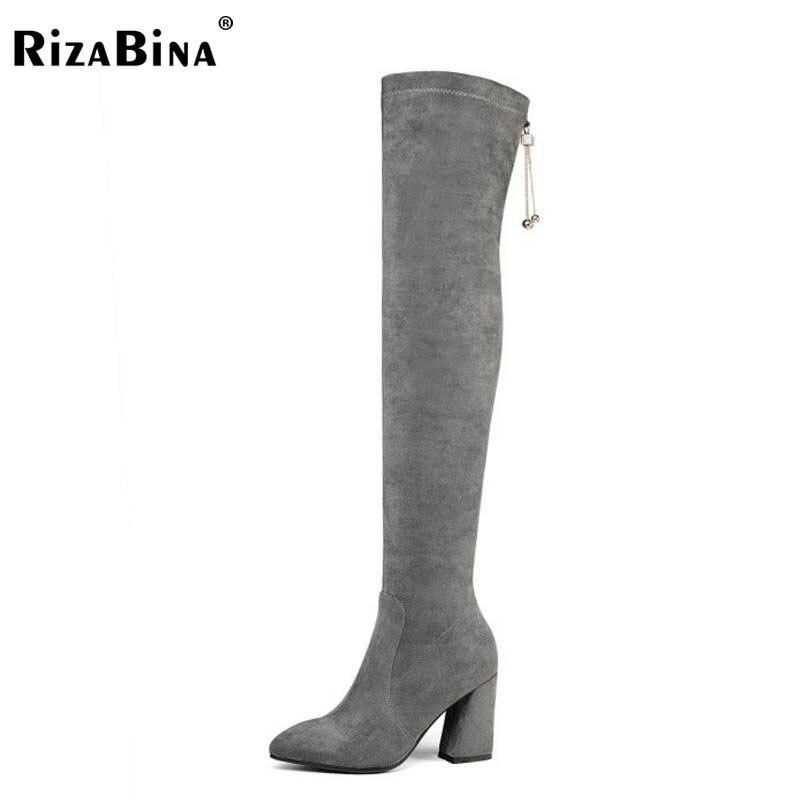 цены на RizaBina Winter Shoes Women Real Leather Thick High Heel Over Knee Elastic Boots Women Tassels Pointed Toe Warm Bota Size 34-39 в интернет-магазинах