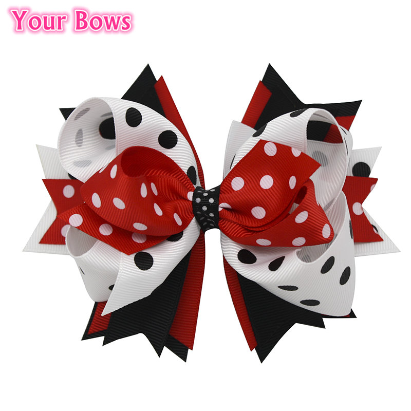 1PC 5.5 Inches New Hair Bows Hairpins Red/Black/White Stacked Boutique Bows Hairpin Girls Headwear Kids Hair Accessories