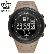 лучшая цена SMAEL Luxury Brand Mens Sports Watches Dive 50m Digital LED Military Watch Men Fashion Casual Electronics Wristwatches Hot Clock