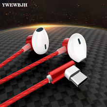 YWEWBJ Type C Earphone Dynamic Drive HiFi USB-C Earbuds In-ear Bass Metal Sport Gaming Headset with Mic for Xiaomi Huawei Letv 100% original boarseman k25 hifi in ear earphone 3 5mm high qaulity flat head earbuds in ear headset dynamic earbuds