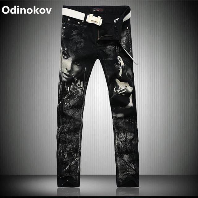 Odinokov Hombres de Marca Pantalones Vaqueros de Impresión 2017 Homme Pantalon Delgado Jeans Hombres Delgados Pantalones Vaqueros Hombre Talla Grandes