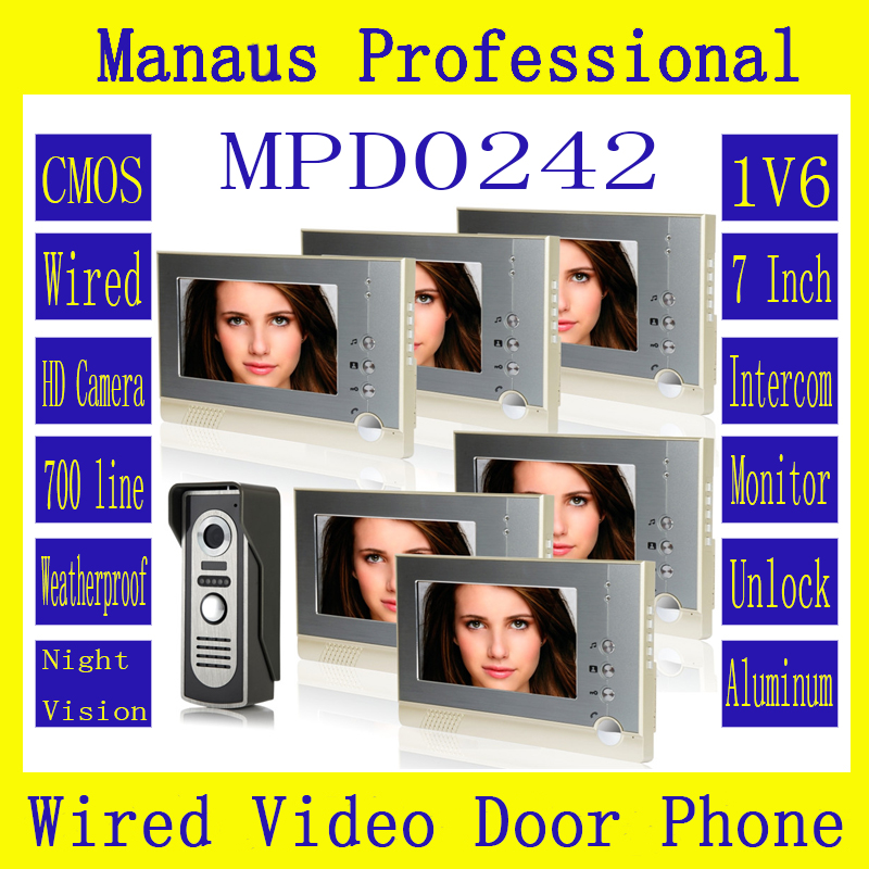 "Professional 7"" Wired Video Door Phone Door bell for Home Security With IR Camera One to Six Video Doorphone Doorbell D242a|bell for home|video doorphone|video door phone - title="