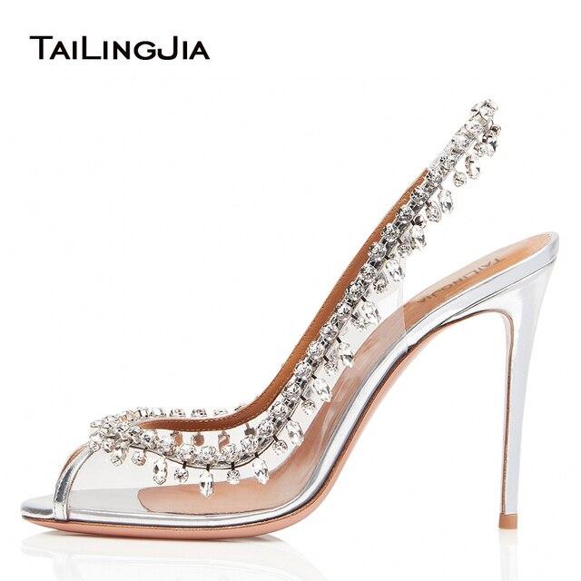 Elegant Peep Toe High Heel Slingbacks with Crystal Sliver Wedding Shoes for  Women Transparent PVC Evening Pumps Summer Shoes