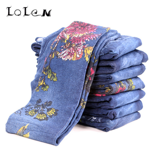 LOLEN 2017 New Printed Leggings High Elastic Fashion Slim Pants for Women