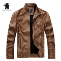 New Winter Men's Fleece PU Leather Fashion Slim Stand Collar Casual Biker Jacket Men Bomber Jacket Leater Coats M~3XL D40F8866