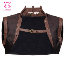 Sexy Sleevele Brown Brocade with Leather Collar Steampunk Jacket Women Bolero Gothic Clothing Halloween Corset Accessories