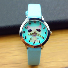 The lovely cat design watch face for kids fashion cartoon new wristwatches children promotion gift leather quartz watches