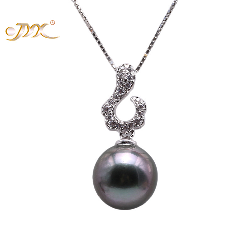 JYX Exquisite 10.0 Black Tahitian Pearl South Sea Cultured Pendant in 925 Sterling Silver High Luster 18 inches jyx pearl silver 925 jewelry genuine 12 5mm oval golden south sea cultured pearl 925 pendant necklace in sterling silver 18