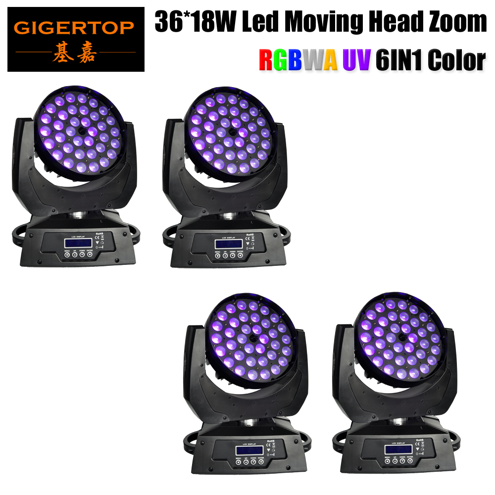 Free Shipping 4xLot Eliminator Stealth Wash Zoom Moving Head 36*18W Watt RGBWA+UV DJ DMX LED Light Fast Delivery Party Light