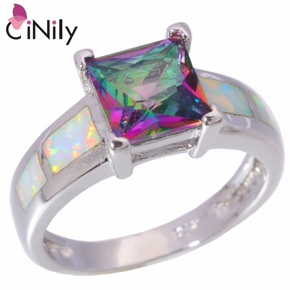 Cinily Zircon Ring-Size Fire-Opal Fashion Jewelry Mystic Silver-Plated White Women
