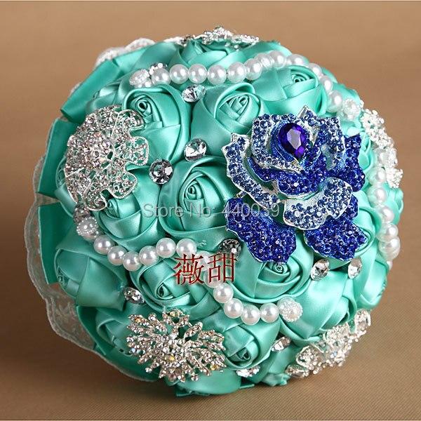 26*20cm Elegant Handmade Pearl and crystal Silk Roses flower Bride brooch bridal wedding bouquet FW186