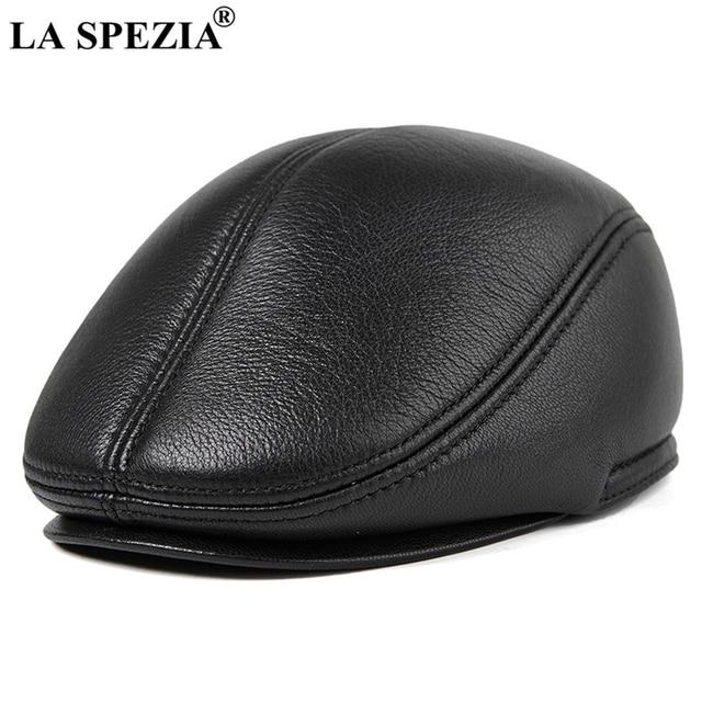 a16ddcf2556e5f LA SPEZIA Winter Flat Caps Beret Men Black Warm Duckbill Hat Ivy Male  Earflaps Thicker Genuine Leather Solid Classic Driving Cap