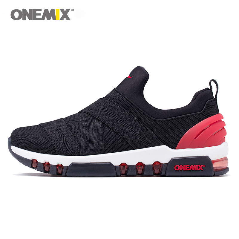 Onemix sport shoes men running sneakers light fitness trainer for man outdoor trekking all-match breathable black white red
