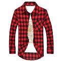 Сорочки для мужчин С Длинным Рукавом Рубашки Моды для Мужчин Плед Рубашки Вскользь Brand Clothing 2017 Рубашки Мужчины Mens Clothing Slim Fit Camisa MCL111