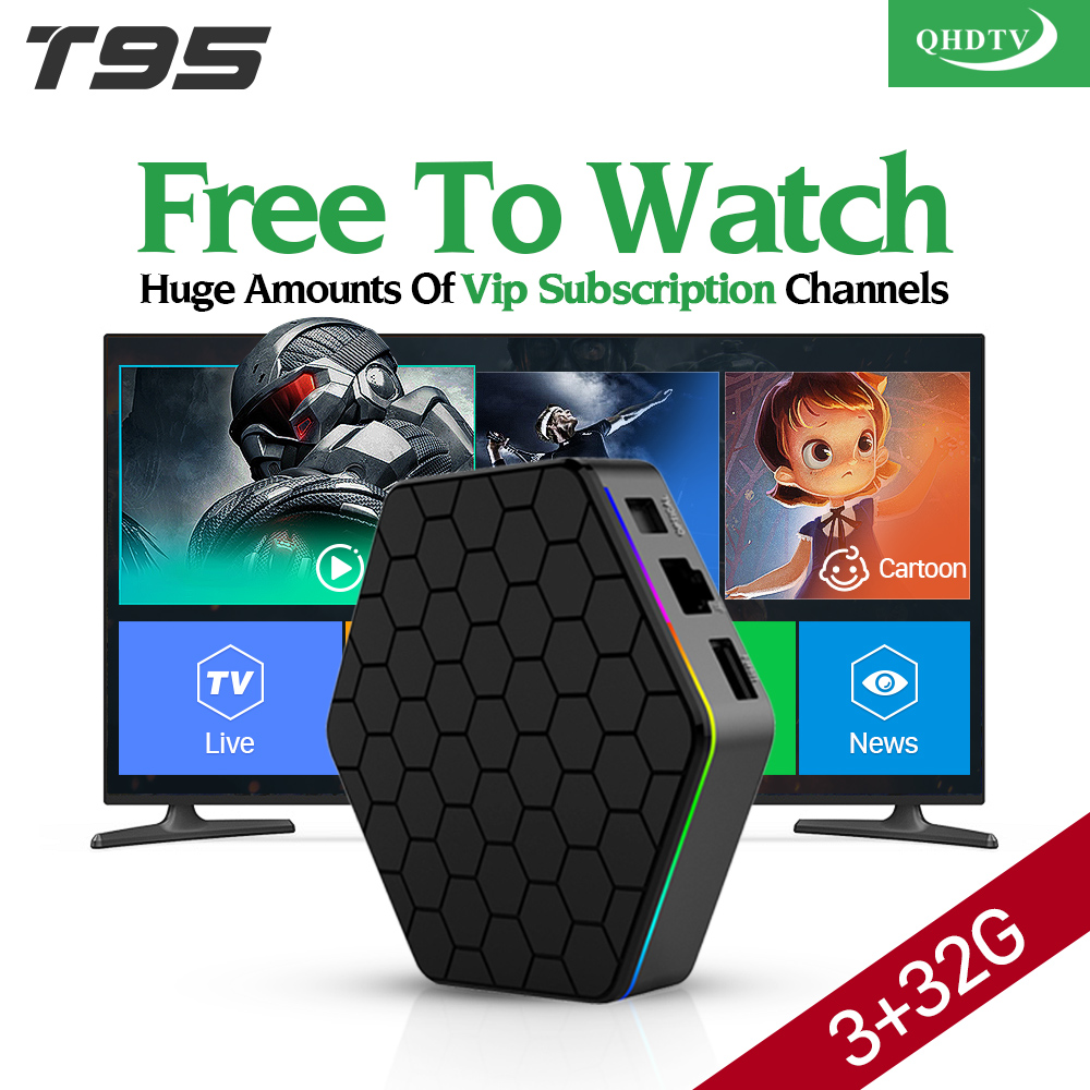 T95ZPLUS Android Smart TV Box with QHDTV Subscription 1300 IPTV Channels S912 3G 32G Europe Arabic French Abonnement IPTV Box мобильный телефон t smart smart g18 3g 200