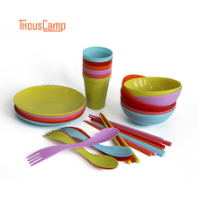 6PCS/SET Outdoor Camping Tableware Set Non-Toxic Plastic Barbecue Plate/Bowl/Cup Spoon Dinnerware Travel Kit