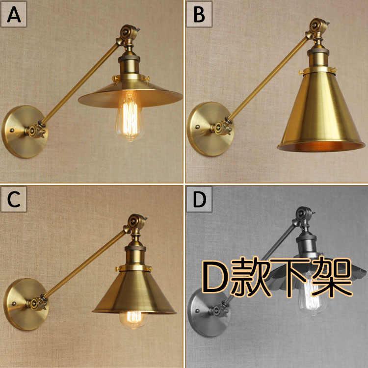 Sudut Yang Dapat Disesuaikan Panjang Lengan Bracket Lampu Dinding Emas Indoor LOFT Retro Vintage Samping Tempat Tidur LED Edison Lampu Nordic Kap Lampu