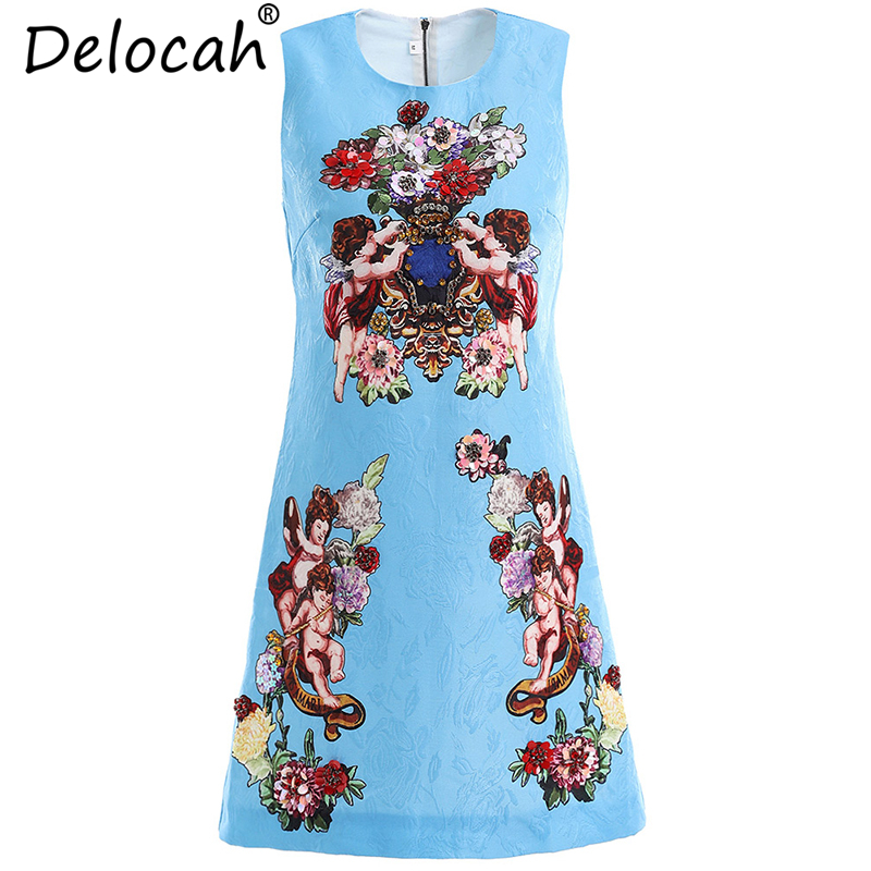 Delocah 2019 Runway Fashion Summer Dresses Women's Sleeveless Gorgeous Beading Sequined Angel Print Elegant Casual Mini Dresses