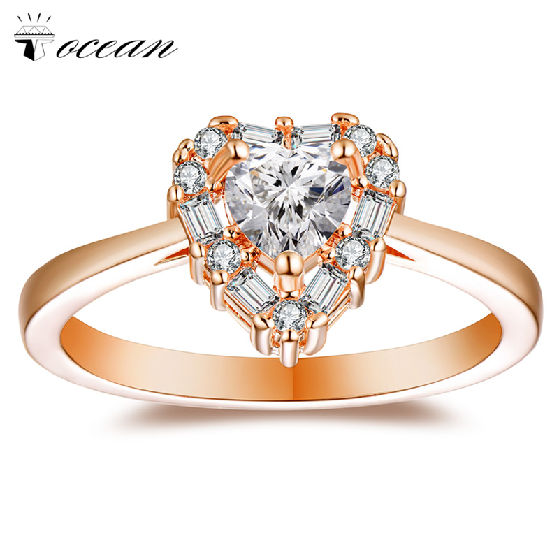 Tocean Rose Gold Color Cute Romantic Wedding Rings for Women Heart AAA Zircon Engagement ...
