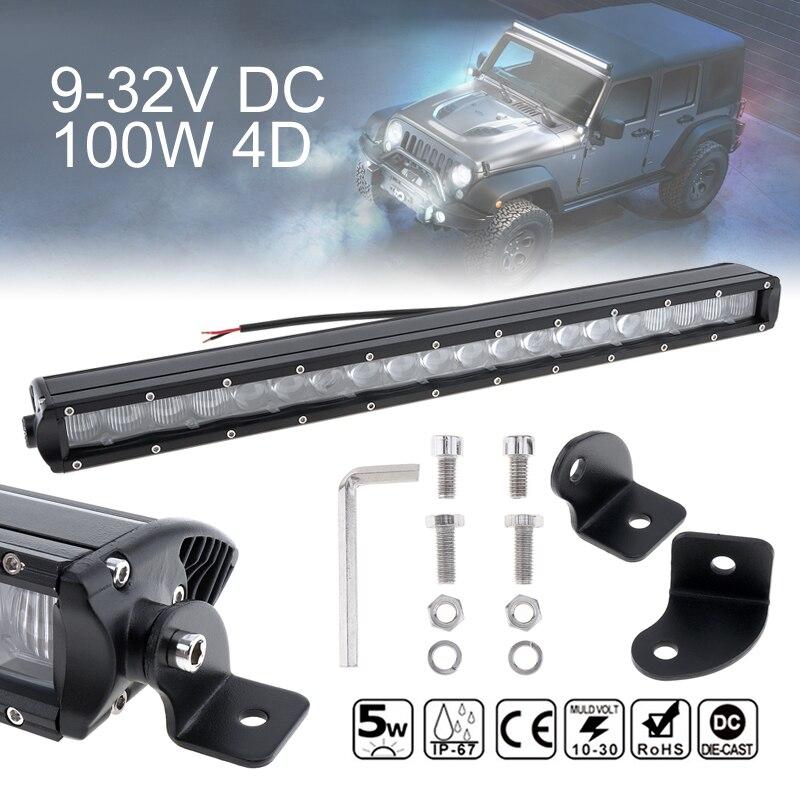 20 дюймов 100 Вт автомобиль прямо <font><b>LED</b></font> Worklight Бар 20x 4D Combo Offroad Работа дальнего света лампы по бездорожью Авто Грузовик внедорожник 4&#215;4 4WD ATV
